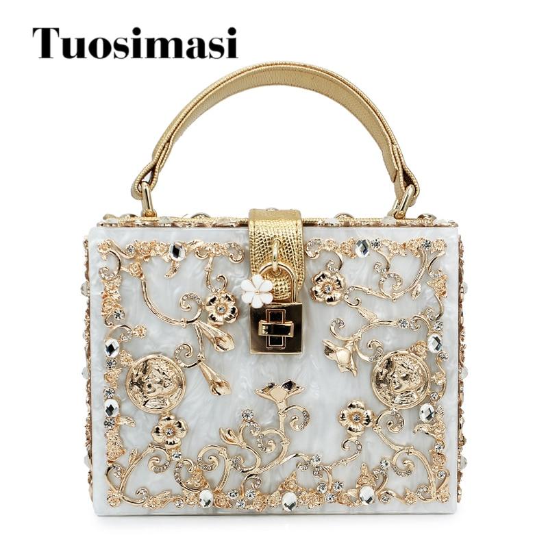 women lady gold diamond relief Acrylic Ballot lock luxury handbag evening bag clutch for party purse (C003)