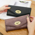 2017 New Brand Women's Purse Female Large Wallet With Coin Pocket Retro Lock Women Wallet Long Solid Pu Leather Envelope Wallet
