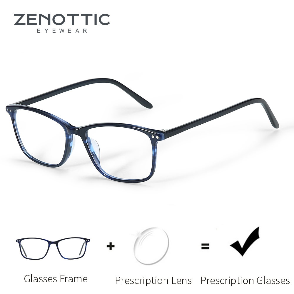ZENOTTIC Acetate Prescription Glasses Frame Women Anti Blue Light CR39 Lenses Eyeglasses Female Square Spectacle Eyewear BT3021(China)