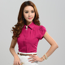 2015 New Women Fashion Short Sleeve Rose Pink Sweet Casual Shirts Blouse Slim Official Work Shirt