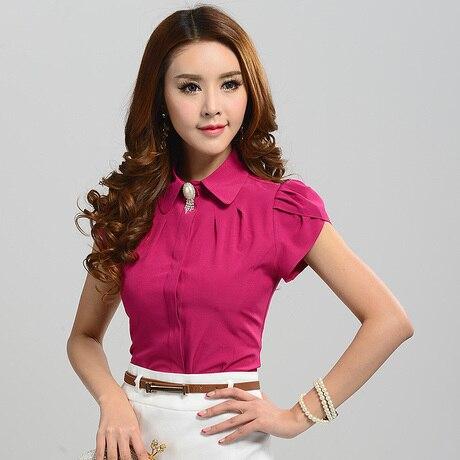 2015 New font b Women b font Fashion Short Sleeve Rose Pink Sweet Casual Shirts font
