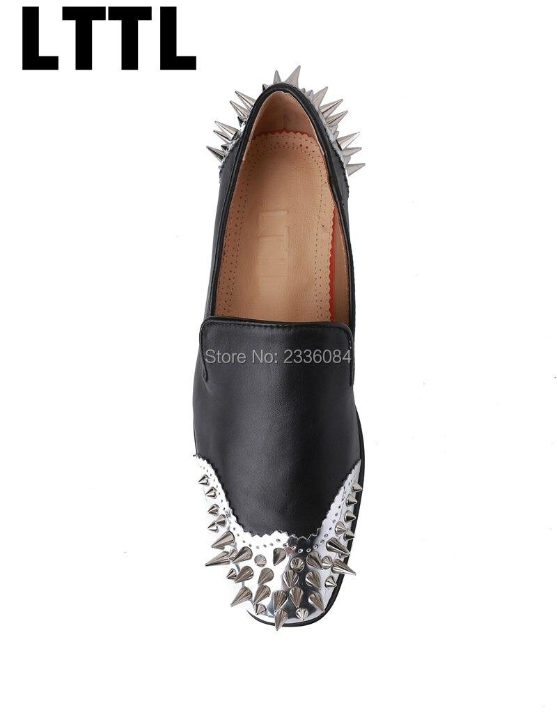 Здесь продается  Fashion Week 2017 New Arrival Punk Style Silver Long Rivet Square Toe Slip On Flat Men Shoes Loafers Chaussure Homme Dress Shoes  Обувь