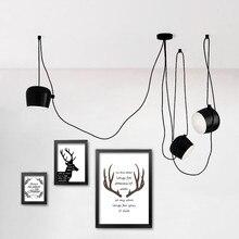 מודרני נברשות שחור לבן תליית מנורת תאורת מטבח גופי בית תאורת droplights אמנות דקו תוף LED תליון מנורות