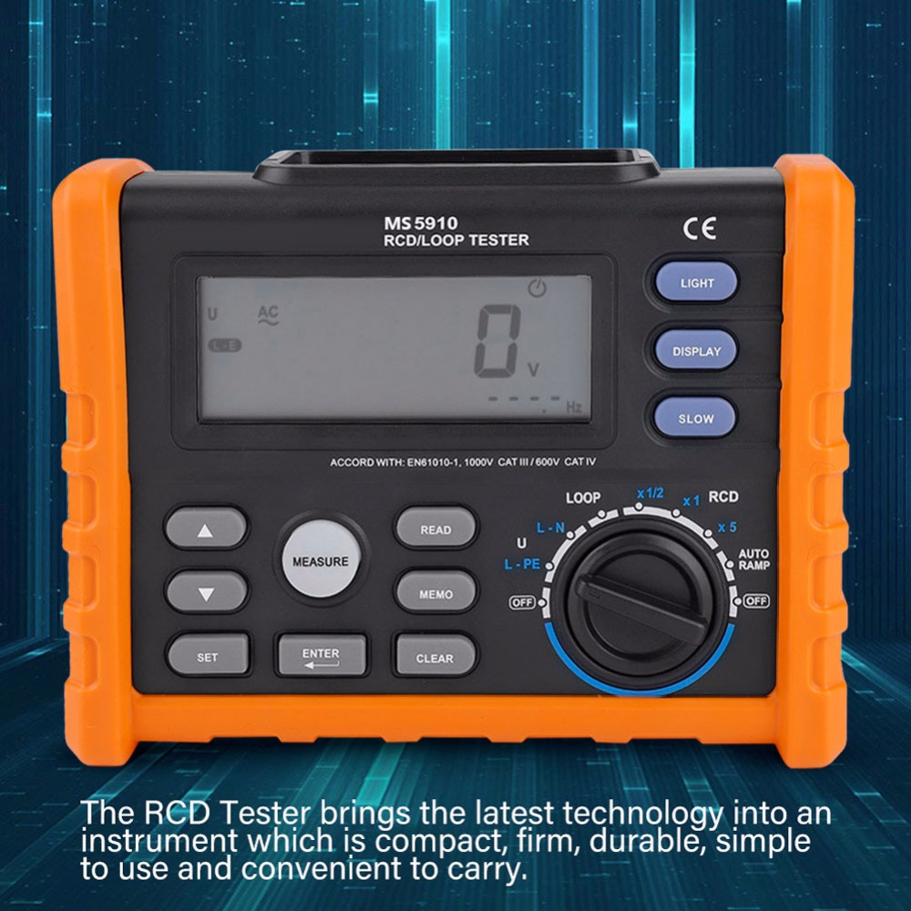 PEAKMETER MS5910 Digital Resistance Meter RCD Loop Tester Voltmeter Multimeter Resistance Tester