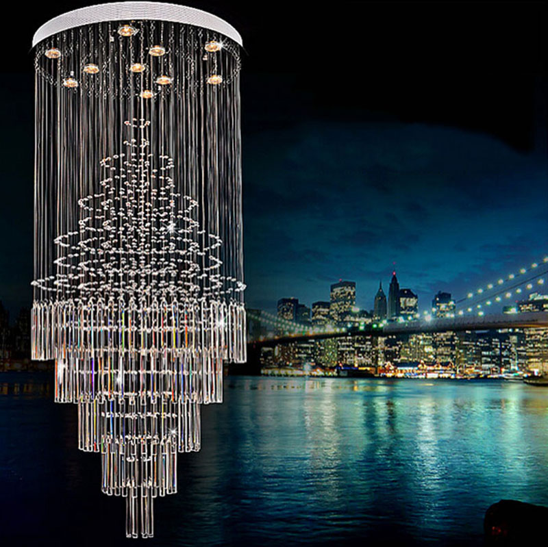Modern crystal staircase lights large staircase chandeliers LED long chandelier double living room crystal hang led lamps