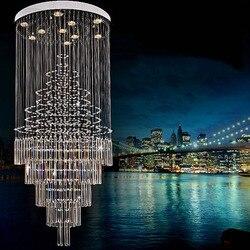 Nowoczesny kryształowy schody światła duże schody żyrandole LED długo żyrandol pokój dzienny kryształowe powiesić Lampy LED w Wiszące lampki od Lampy i oświetlenie na