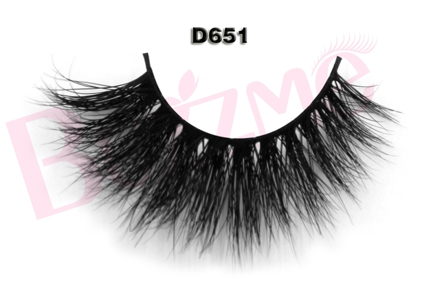 New beauty release 1 pair 3D mink eyelash 100% real mink fur Handmade D651 individual strip thick lash
