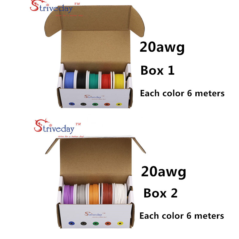 60 m 20AWG Flexible Silicone Rubber Wire Tinned Copper line (10 colors Mix box 1+box 2 Stranded Wire Kit) 19.68 feet each colors 20awg soft flexible silicone wire black red 100cm 2 pcs
