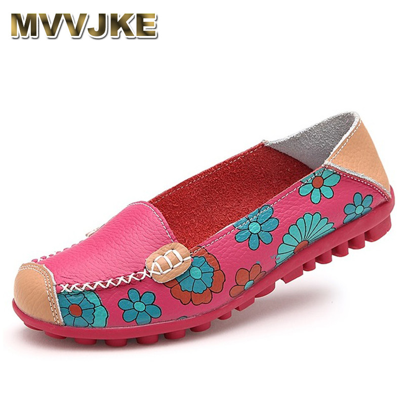 MVVJKE Women Casual Shoes Female Genuine Leather Printing Loafers Shoes Plus Size 41 42 Fashion Slip On Shallow Flats Shoe new fashion luxury women flats buckle shallow slip on soft cow genuine leather comfortable ladies brand casual shoes size 35 41