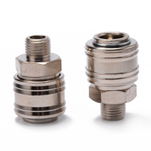цена на 2pcs Euro Air Line Hose Compressor Connector Fitting 1/4 BSP Thread Male/Female Quick Release Set