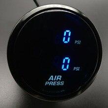 Дымовая линза 52 мм цифровой двойной индикатор давления воздуха синий светодиодный PSI пневматическая подвеска с 2 электрическими датчиками