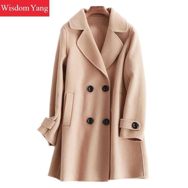 Элегантный белый розовый верблюжьей шерсти женские пальто Зимние теплые 2018 женские длинные шерсятнное пальто женское офисное пальто женская верхняя одежда