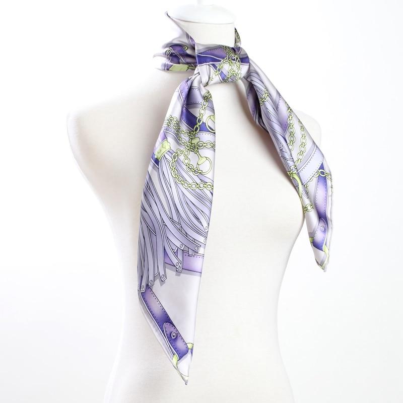 Fashion Belts Print Women Large Square Silk   Scarf   Shawl 100% Real Silk   Scarf     Wraps   Foulard 88x88cm High Quality Hand Rolled