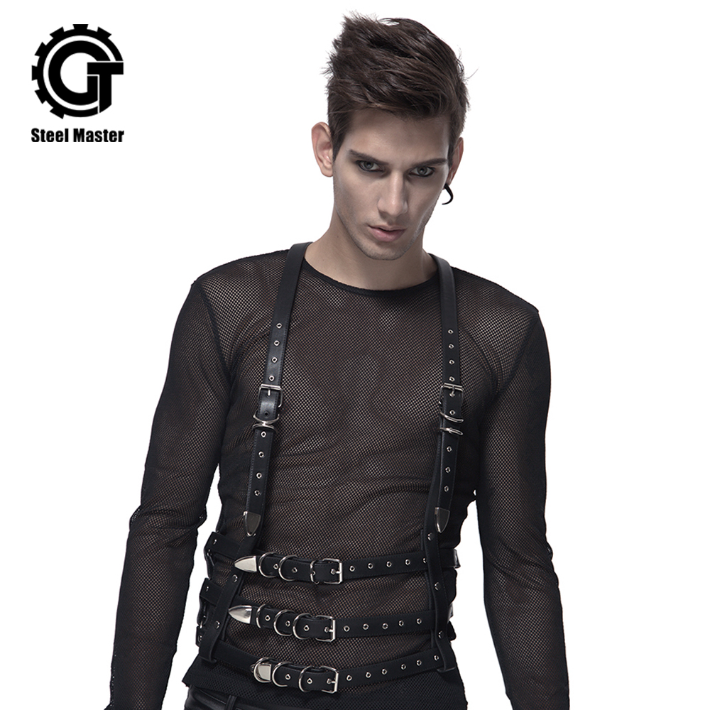 Punk Rock Mens Belts Leather Slip Three Sraps With Buckles Waist Belt Steampunk Accessories