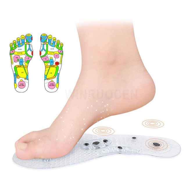 Man Women Magnetic Therapy Massage Insoles Weight Loss Acupressure Promote Blood Circulation Transparent Shoe Sole Pads Gifts 5