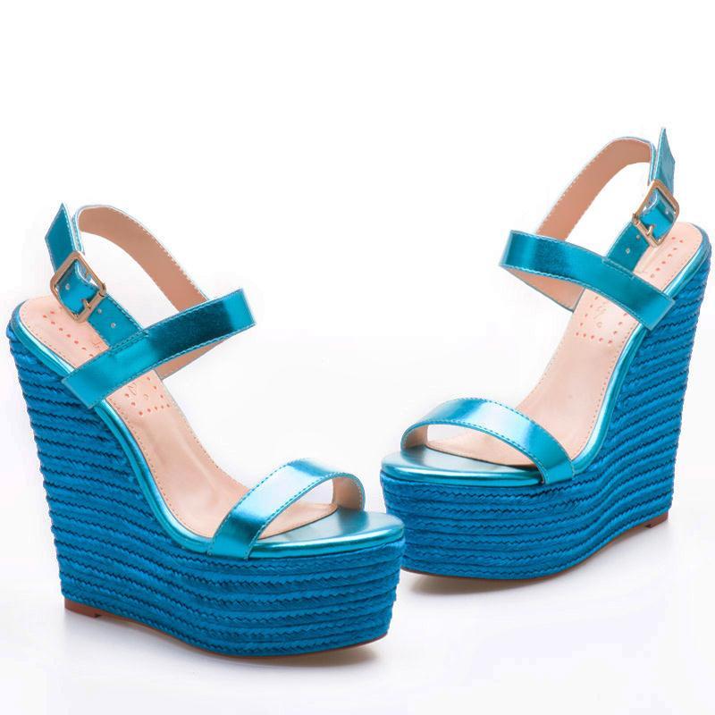 Ayakk.'ten Yüksek Topuklular'de Pembe Avuç Içi Kadın Ayakkabı sandalias mujer 2018 platform sandaletler Yüksek Topuklu Ayakkabılar Bayan Sandalet Parti Elbise Sandalet Parlak mavi'da  Grup 2