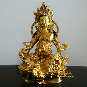 Wholesale Collection- HOME House  Talisman Protection # Tibetan Buddhism Yellow mammon Zanbala gilding brass gold Buddha statue