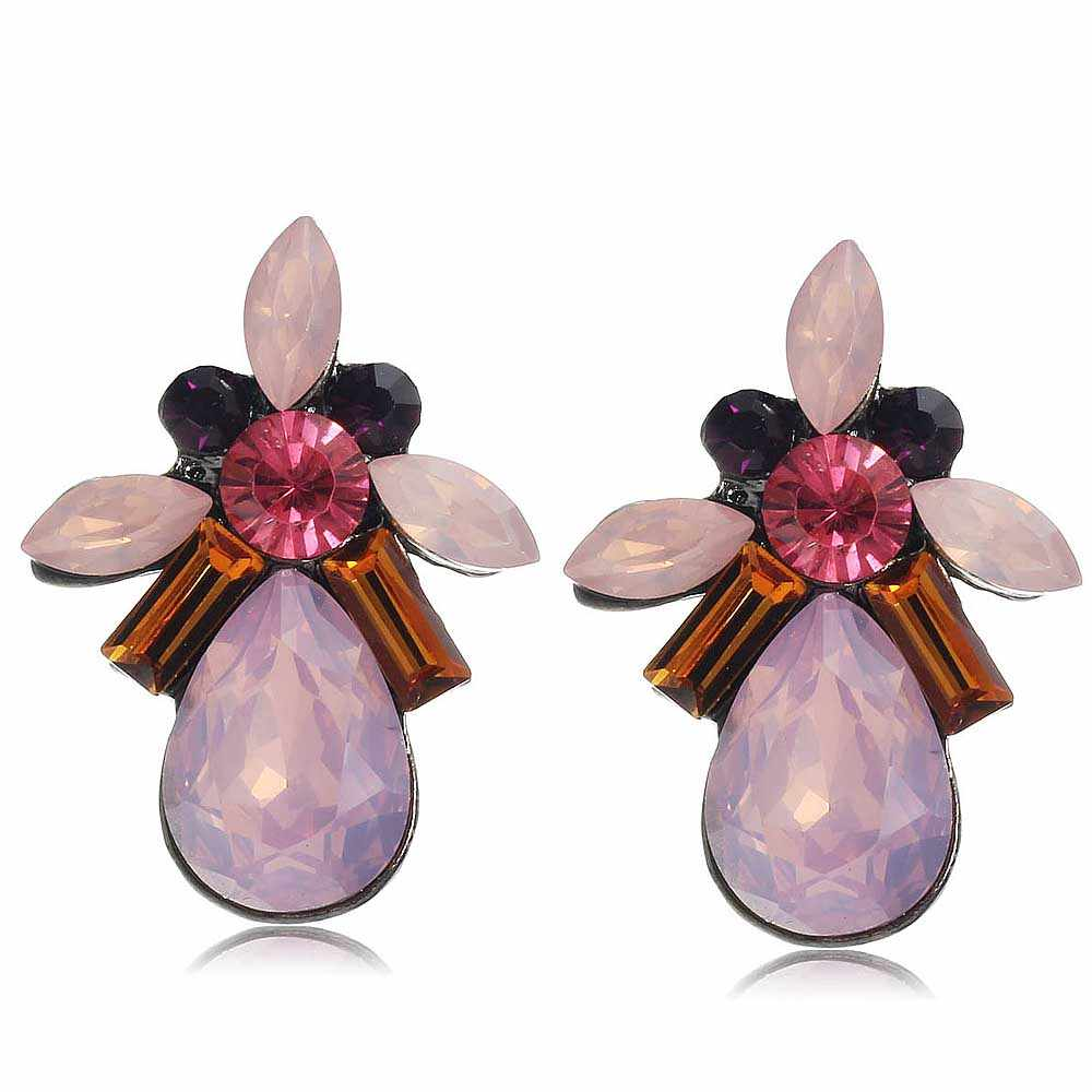YaYi Pink Orange Glass Red Rhinestone Dangle Earring Women's Fashion Gun  Black Gem Earrings For Women E1110