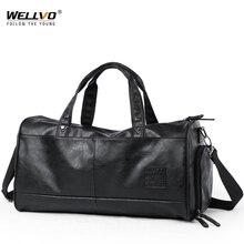 Для мужчин Кожаная Дорожная сумка большой вещевой мешок независимые туфли карман для мальчиков постарше Фитнес сумки, сумка в руку, Чемодан сумка черный XA290ZC