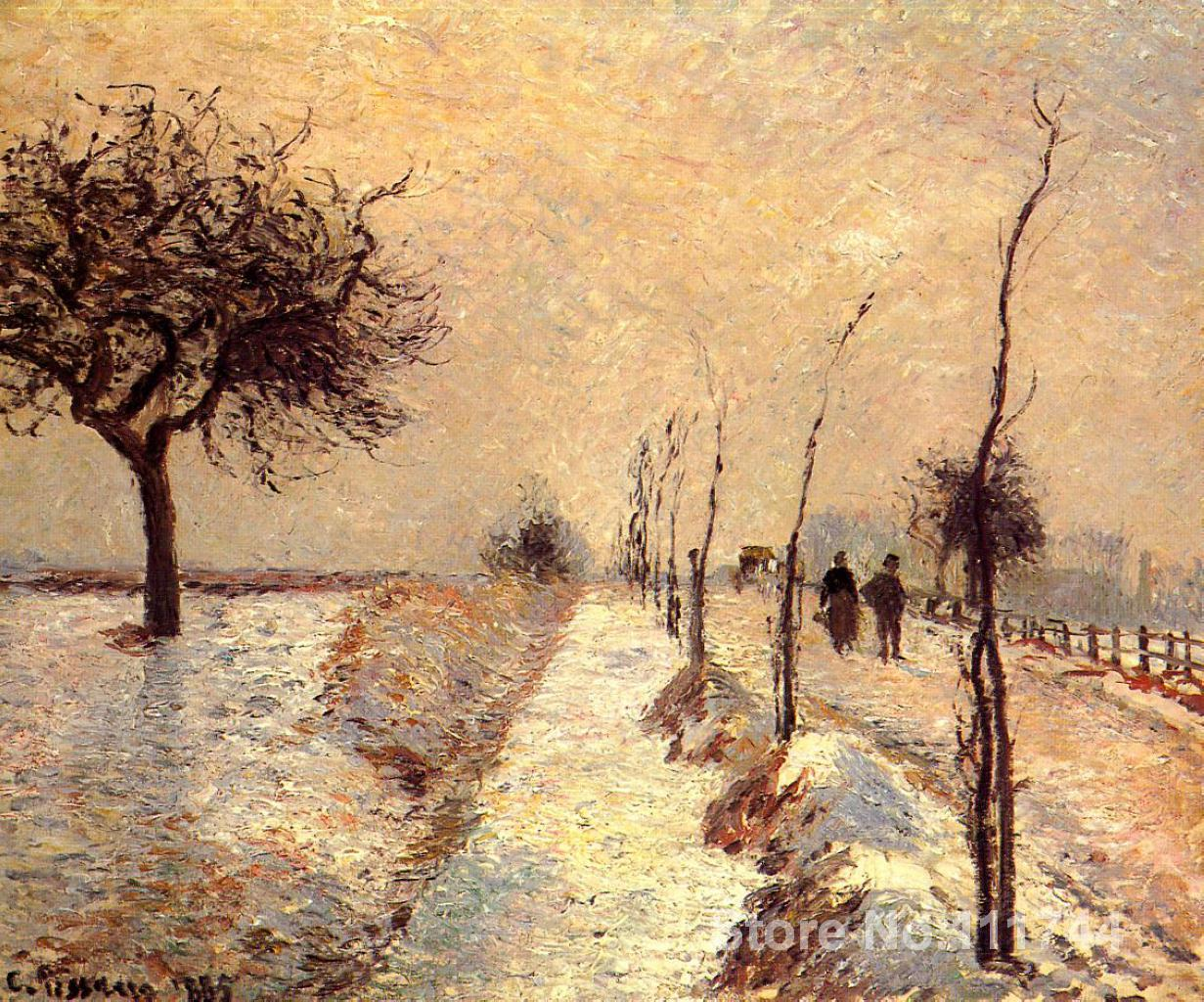 bedroom art Road at Eragny Winter Camille Pissarro paintings home decor High quality Hand paintedbedroom art Road at Eragny Winter Camille Pissarro paintings home decor High quality Hand painted