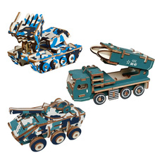 DIY 3D Wooden Car Puzzles Armored Missile vehicle Puzzles Game Children Kids Toy Model Building Kits Educational Gift ss 008 1 35 israel achzarit heavy armored transporter later model building kit toy