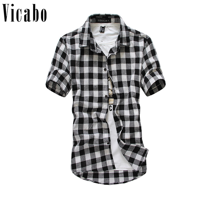 Vicoba Men Plaid Shirt 2018 Men Fashion Slim Fit Summer Shirt Chemise Homme Mens Casual Short Sleeve Collar Flannel Shirts