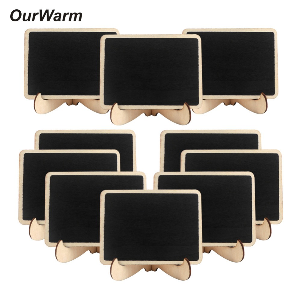 OurWarm 10Pcs Wooden Chalkboard Sign 10*7.5cm Wedding Table Numbers Message Boards Clips Name Place Cards Wedding Party Supplies