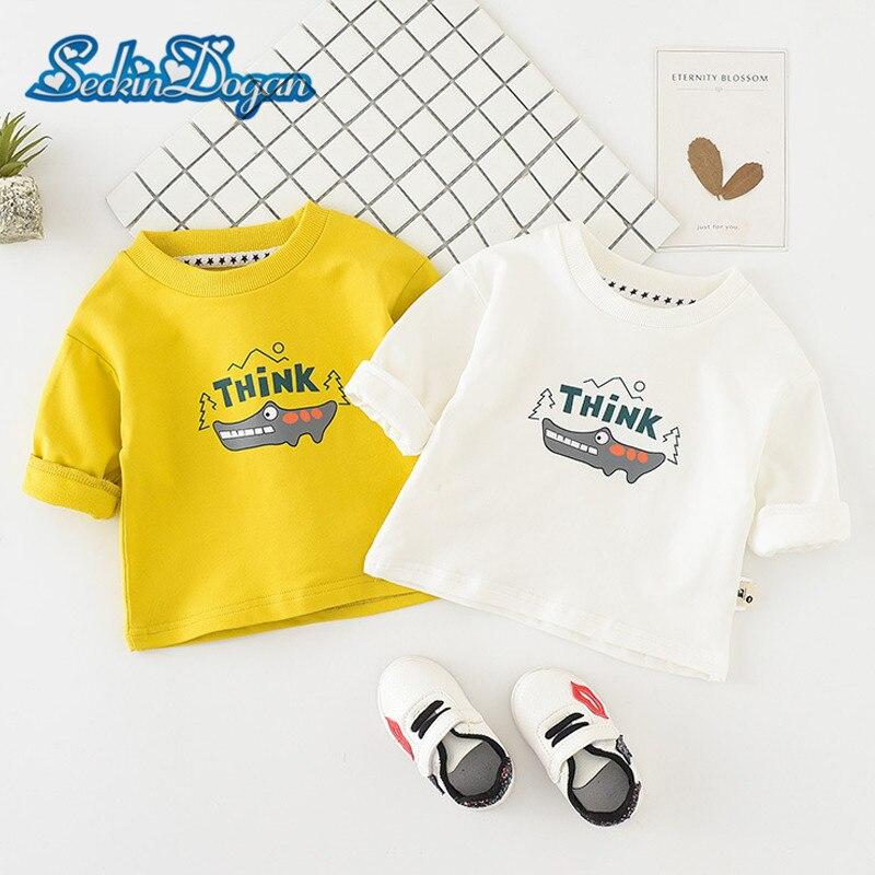 2018 Sping Autumn Boys Sweatshirt Cartoon Crocodile Printing Hoody Baby Girls Boys Cotton Top Clothes Fashion Casual Sweatshirts