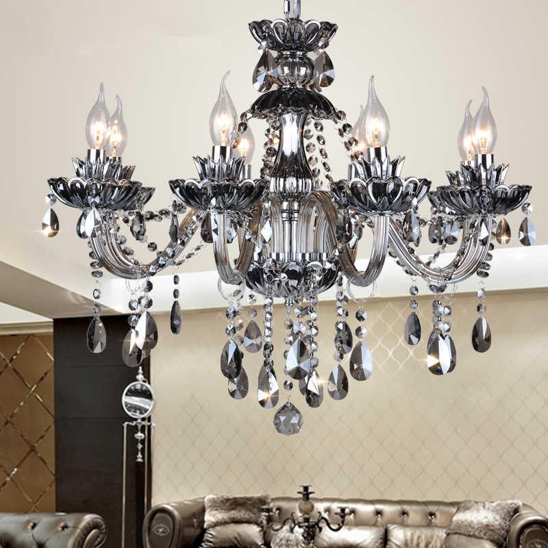 Высокое качество серый дым K9 хрустальные люстры ресторан виалл люстра отельного лобби свет крепление для люстры ручек на выбор, хрустальные лампы Avize