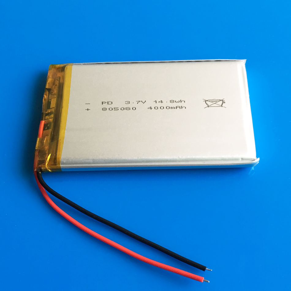 805080 <font><b>3.7V</b></font> <font><b>4000mAh</b></font> 14.8wh Polymer Lithium <font><b>LiPo</b></font> Rechargeable <font><b>Battery</b></font> For GPS PSP DVD PAD tablet pc laptop power bank video game image