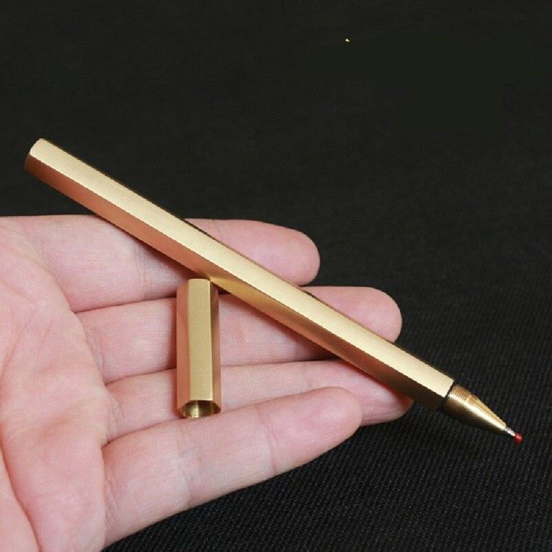 handmade pure hexagonal brass signature metal gel pen creative gifts 5pcs/lot