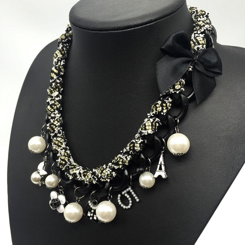 Charms Choker Necklace Women Camellia Letter 5 ABS Pearl Jewelry Classic Statement Necklaces Big CNANIYA Brand Fashion Jewellery 1
