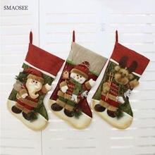 b8f1ba8fc 2018 Christmas Stocking Gift Candy Bag Xmas Tree Decorations Big Stockings  Gift For Kids Christmas Decorations