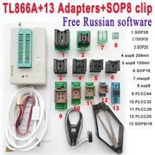 Bezpłatne Rosyjski oprogramowanie + Oryginalny Minipro TL866A programista + 13 adapter gniazdo + SOP8 Klip IC zacisk Bios Flash EPROM EEPROM
