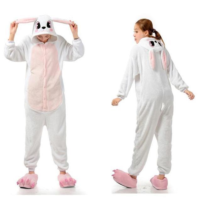 6fff592f2c33 Cute Rabbit One Piece Pajama Onesies For Adult Funny Animal Pajamas Onesies  Men Women Animal Onesies Jumpsuit Pajama