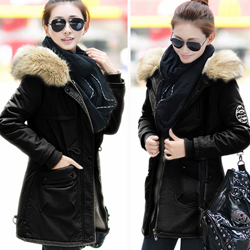 Black Women Winter Warm Jacket Zip Coat Long Sleeve Faux Fur Thick Hooded Outwear Army Green Coats winter fur coat 2015 new women imitation mink elegance long sleeve faux fur coats long jacket warm outwear with belt qy241