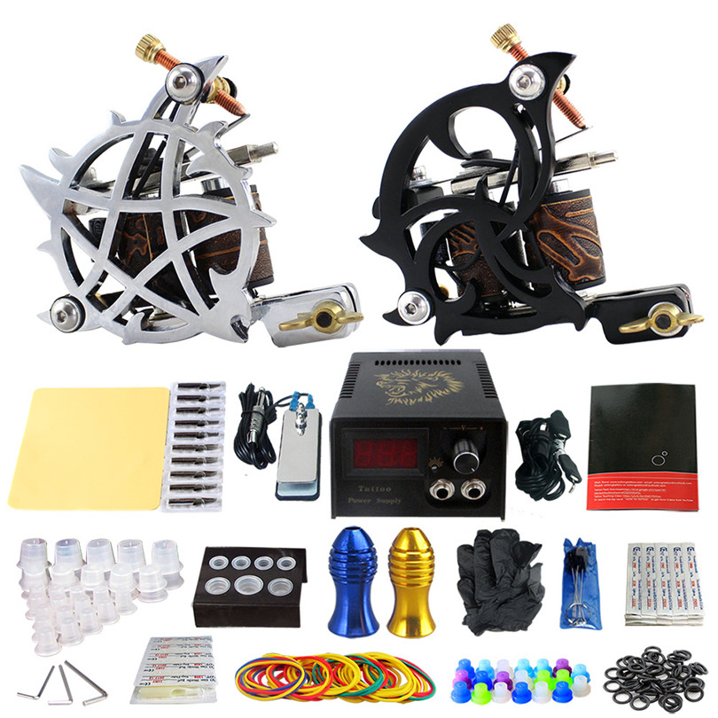 Complete Tattoo Kit Pro 2Pcs Stamping Casting Coil Tattoo Machines Power Supply Needles Tips Grips Tattoo Supplies For Body Art 2017 pro complete tattoo machine kit set 2pcs coil tattoo machine gun power supply needles grips tips footswitch for body art