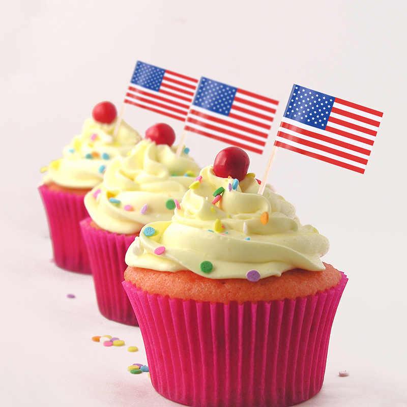 Paquete de 100 bandera estadounidense, Mini palillos para fruta, Bandera de papel, palillos para comida, palillos para pasteles, cupcakes, decoración de Navidad
