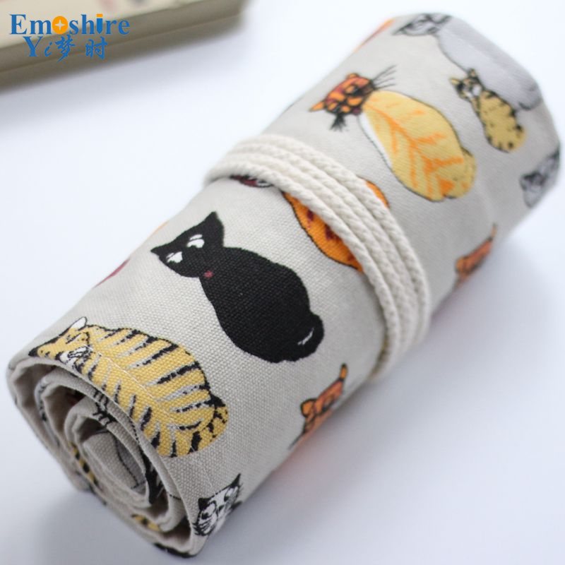New Cute Cartoon Cat Canvas Pencil Case 36/48/72 Holes Roll School Large Capacity Pencil Bag Escolar School Estuche Escolar B061 cute kawaii cartoon canvas roll pencil case lovely fabric roller girl pen bag for kids school