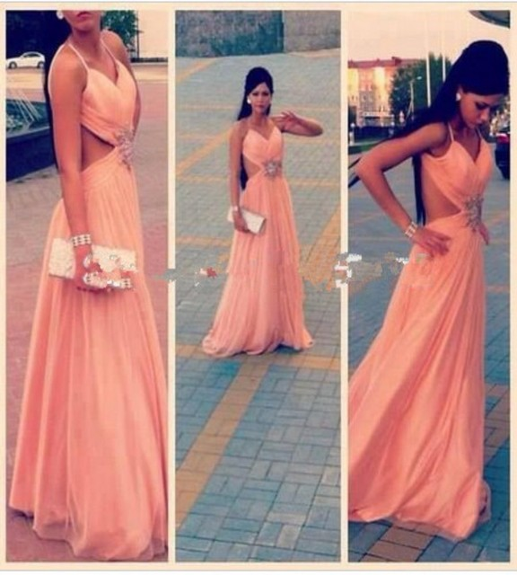 d1dc34b577 Salmon Pink backless Chiffon Beaded Prom Dress Spaghetti Straps hollow-out  V-Neck Floor Length Gown Formal Evening Dress