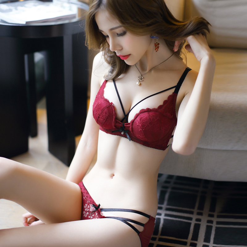 JYF Hot sale sexy hollow women underwear   sets   embroidery Deep V lace   bra     set   padded sponge lingerie young girl   bra     brief     sets