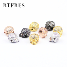 BTFBES Micro-inlay White Zircon Skull Copper Beads 1pcs Shine Accessories Loose beads for Jewelry Bracelet Making Necklace DIY