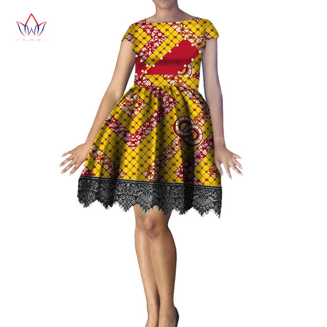 c03dc6a6cf8 Fashion 100% Cotton African Print Dresses for Women Bazin Riche Knee Length  Tutu Pearls Dresses African Style Clothing WY612