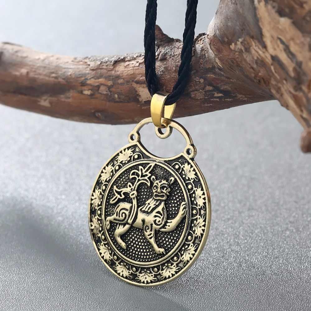 CHENGXUN Klasik Pria Perhiasan Hewan Liontin Singa Diukir Kalung Bunga Simpul Celtic Charm Hadiah Untuk Teman-teman Terbaik