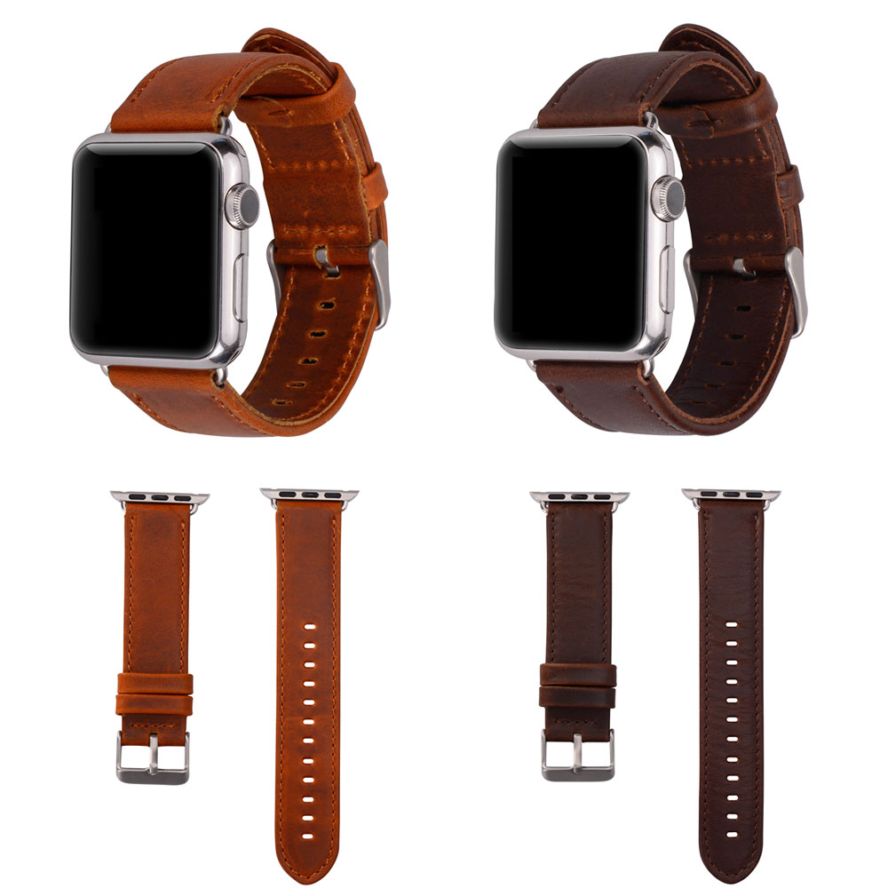 Correa de reloj de cuero de caballo loco genuino clásico con adaptador de conector para correa de banda de reloj de Apple 38 mm y 42 mm Serie 3/2/1