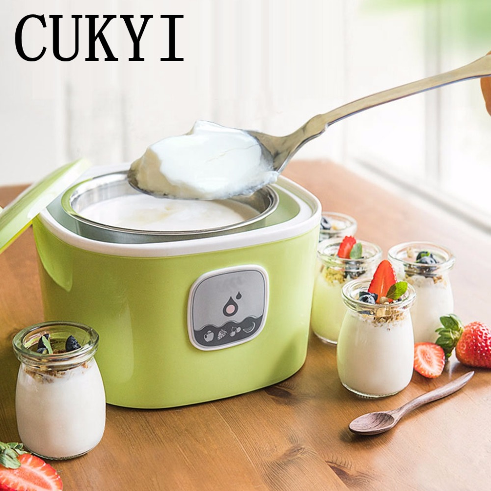 CUKYI Automatic Electric Yogurt Maker Machine 5 glass jars 1L stainless steel pot Multifunction Kitchen Make Healthy Yogurt salter air fryer home high capacity multifunction no smoke chicken wings fries machine intelligent electric fryer