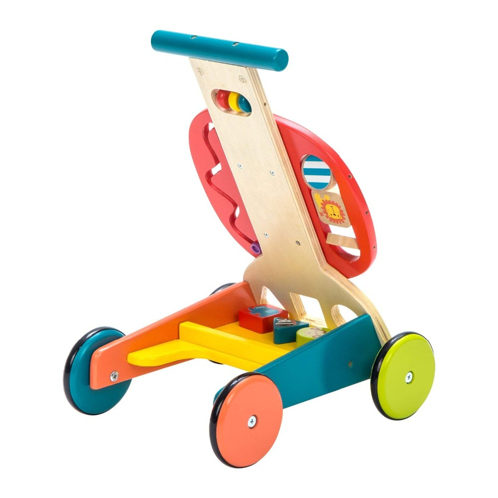 Toddler Learning Cart Activity Baby Walker Yellow Lion Labebe Wooden Push and Pull Toy