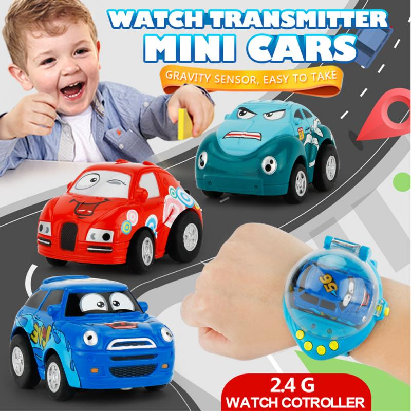Novelty Mini Cartoon Children Watch With 2.4G 1:58 Remote Car Gravity Sensing RC Car