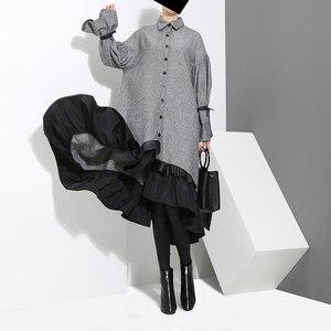 Image 4 - 2020 automne hiver femmes grande taille gris chemise robe Midi à manches longues Patchwork épais chaud à volants élégant robe de soirée Style 3073