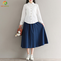 2018 New Arrival Fashion Women Twin Set Blouse Slim White Blouse Skirt Elastic Waist Brief Elegant